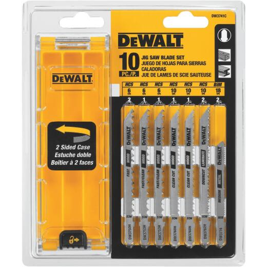 Dewalt 10-Piece T-Shank Jig Saw Blade Set with Case