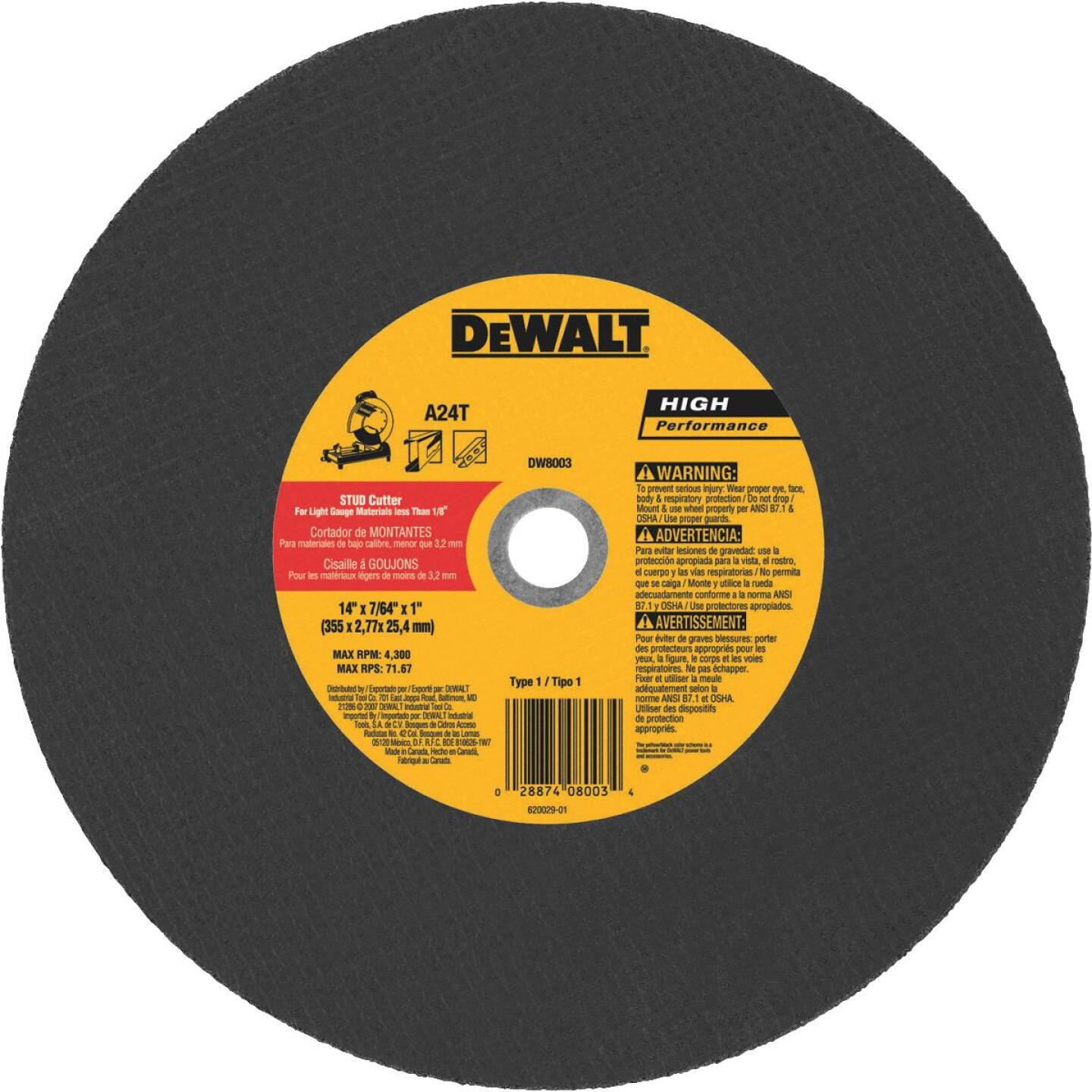 DeWalt HP Type 1, 14 In. Cut-Off Wheel Image 1