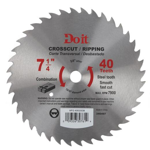 Do it 7-1/4 In. 40-Tooth Cutoff/Rip Circular Saw Blade, Bulk