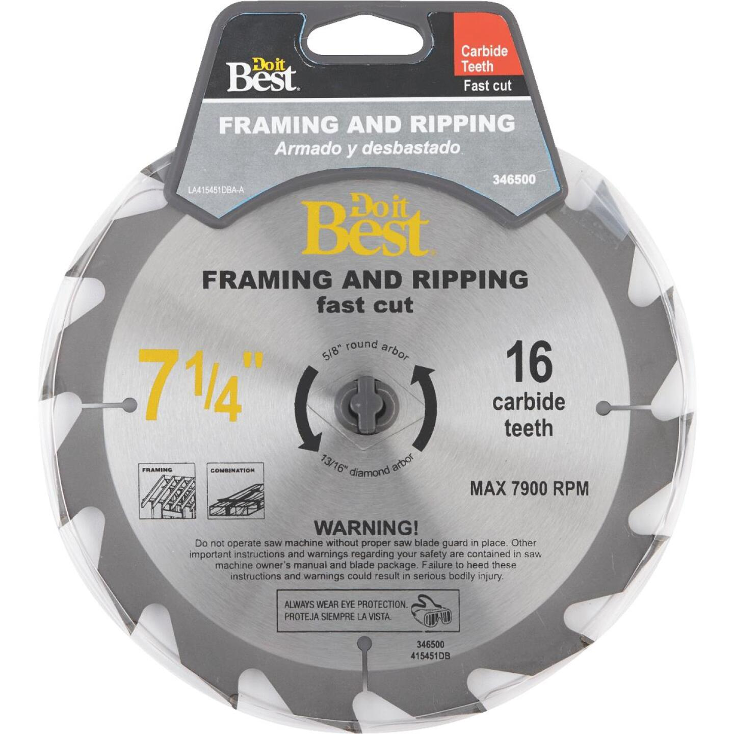 Do it Best 7-1/4 In. 16-Tooth Framing & Ripping Circular Saw Blade Image 1