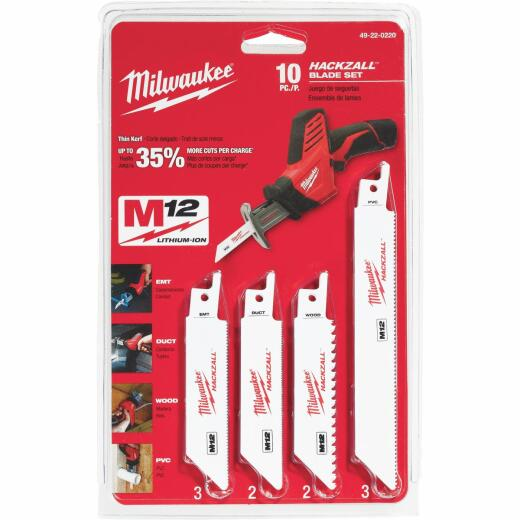 Milwaukee Hackzall 10-Piece Mini Reciprocating Saw Blade Set