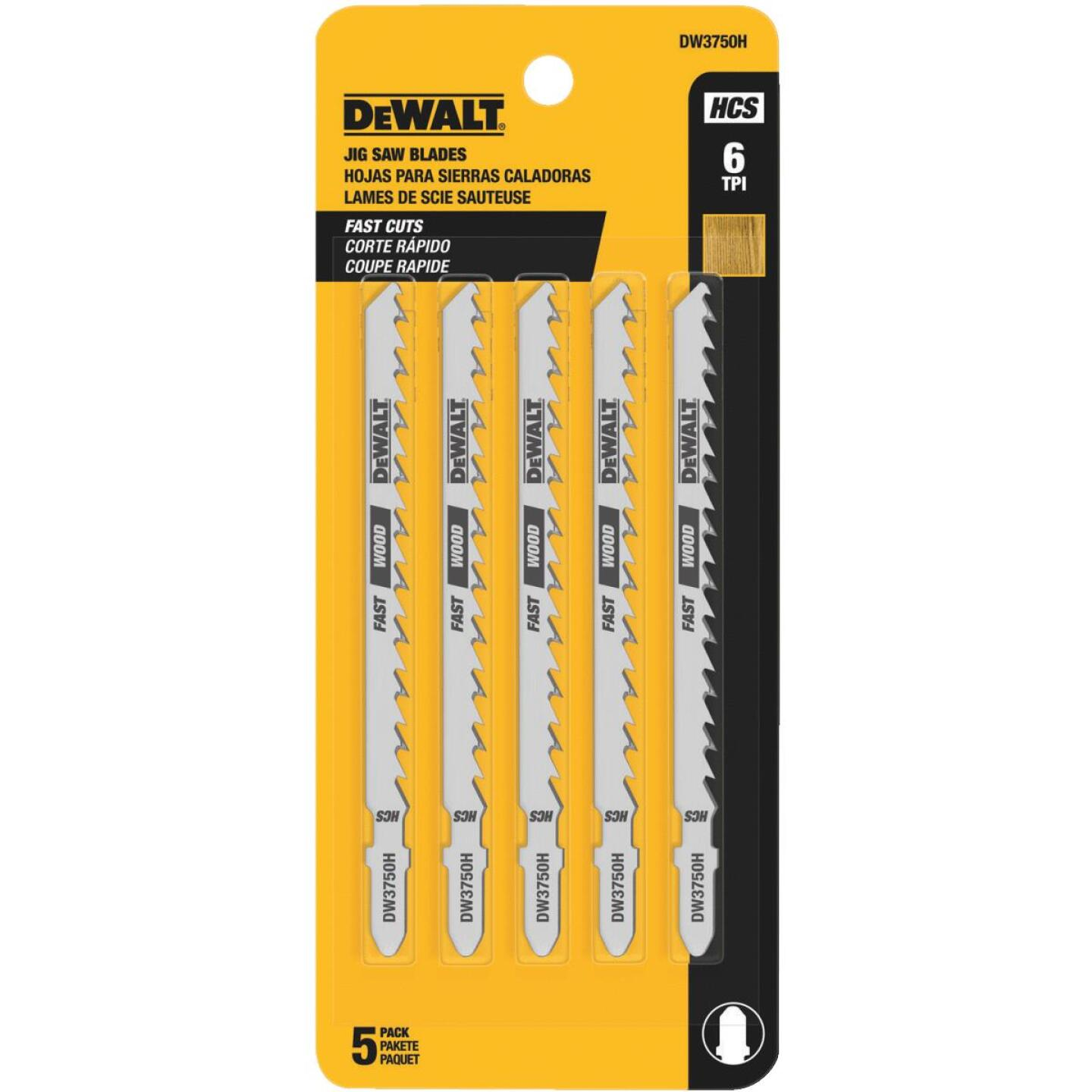 DeWalt T-Shank 4 In. x 6 TPI High Carbon Steel Jig Saw Blade, Fast Wood (5-Pack) Image 2
