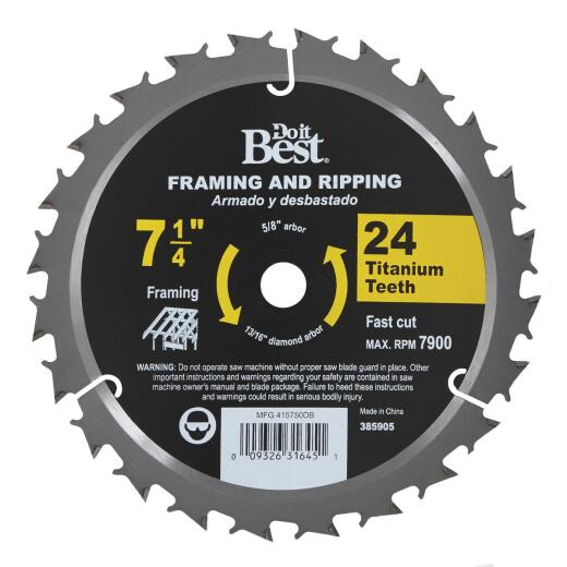 Do it Best Professional 7-1/4 In. 24-Tooth Framing & Ripping Circular Saw Blade, Bulk