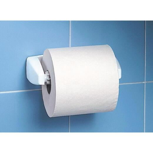 Homz Deluxe White Plastic Wall Mount Toilet Paper Holder