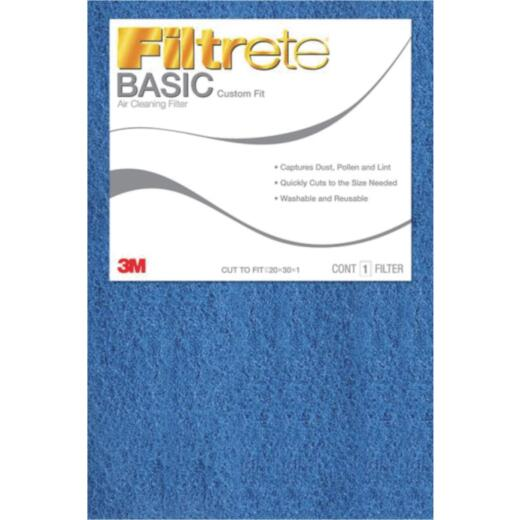 3M Filtrete 20 In. x 30 In. x 1 In. 100 MPR Basic Custom Fit Trimmable Air Filter