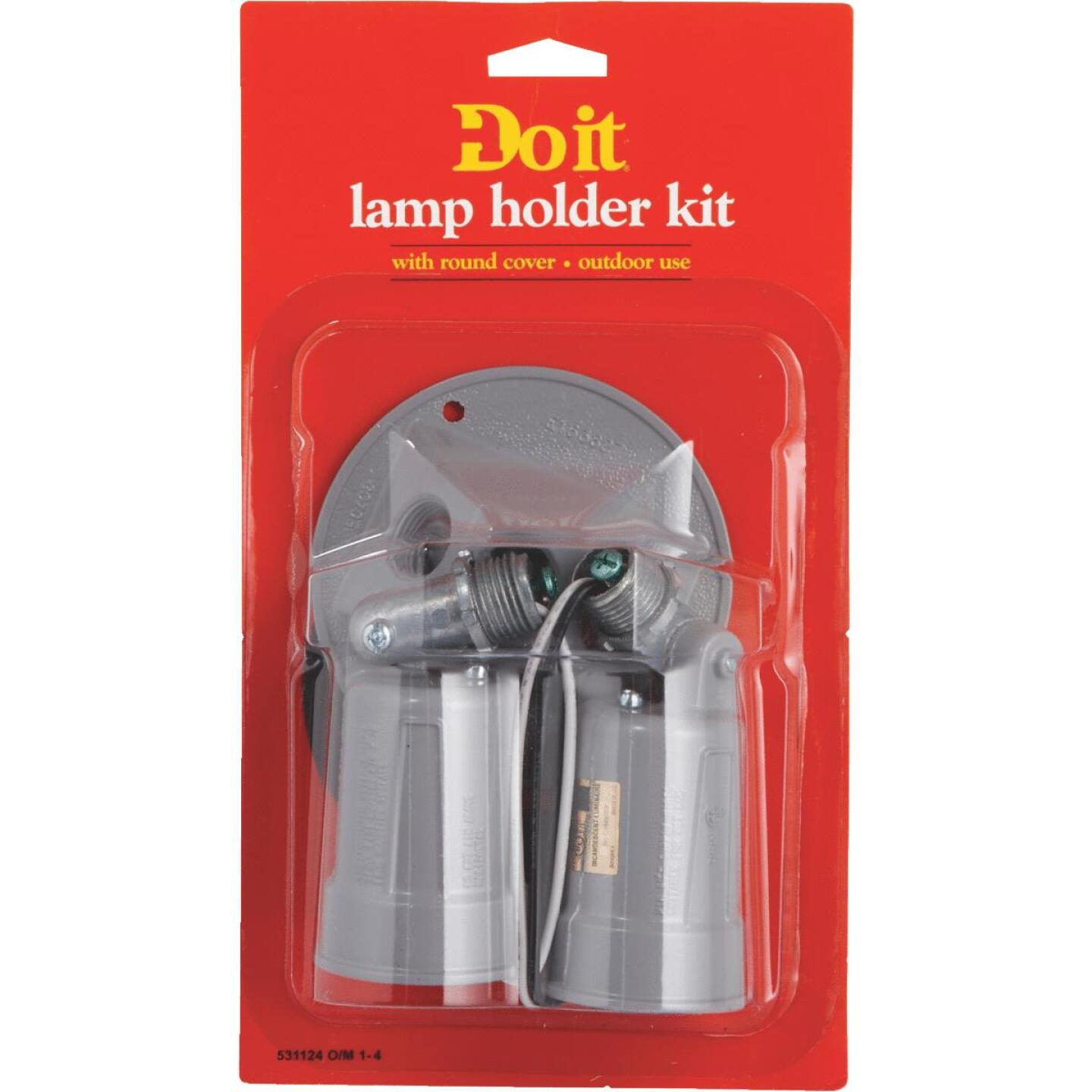 Bell 150W Aluminum Round Double Gray Weatherproof Outdoor Lampholder with Cover, Carded Image 3