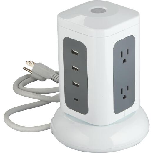 Do it Best 6-Outlet/3-USB 1800J White Surge Protector with 3 Ft. Cord