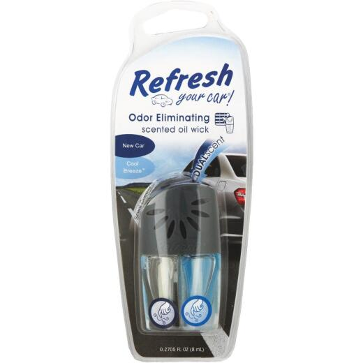 Refresh Your Car Oil Wick Car Air Freshener, New Car/Cool Breeze