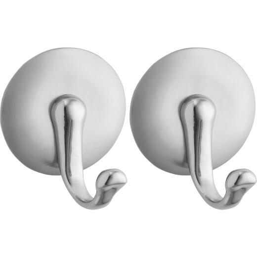 InterDesign York Round Silver Metal Adhesive Hook (2-Pack)