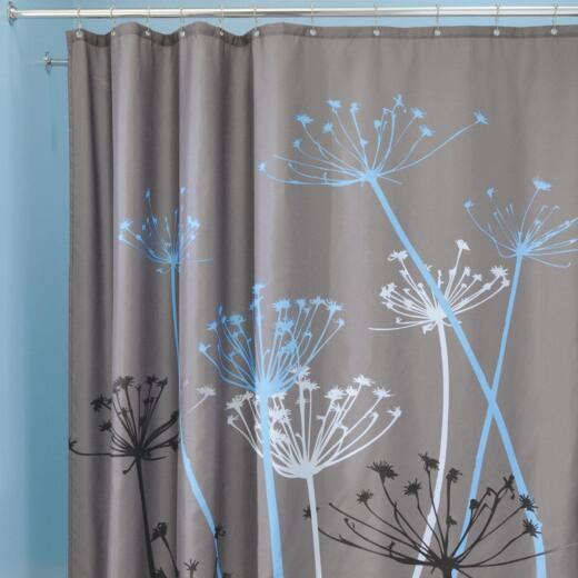 InterDesign York 72 In. x 72 In. Gray/Blue Thistle 100% Polyester Graphic Fabric Shower Curtain