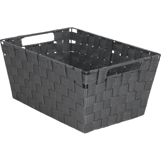 Home Impressions 10 In. W. x 6.75 In. H. x 14 In. L. Woven Storage Basket with Handles, Gray