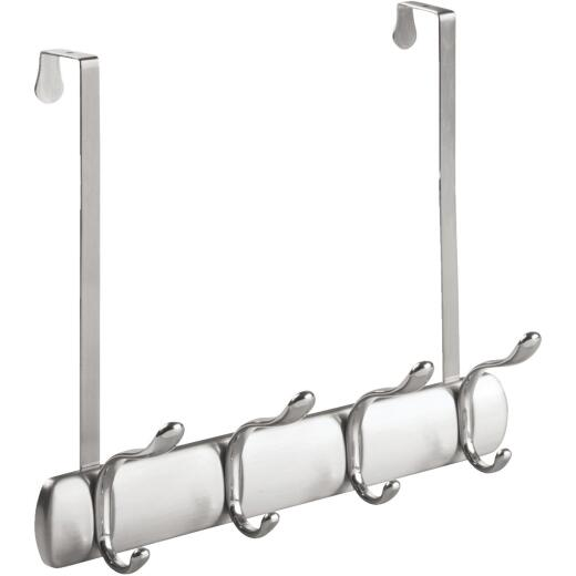 iDesign Bruschia Brushed Nickel Over-The-Door 4-Hook Rail