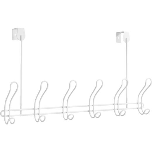 iDesign Classico Over-The-Door White 6-Hook Rail