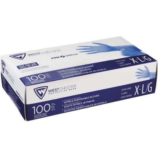 West Chester Protective Gear Posi Shield XL Nitrile Disposable Glove with Textured Fingertips (100-Pack)
