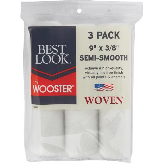 Best Look By Wooster 9 In. x 3/8 In. Woven Fabric Roller Cover (3-Pack)