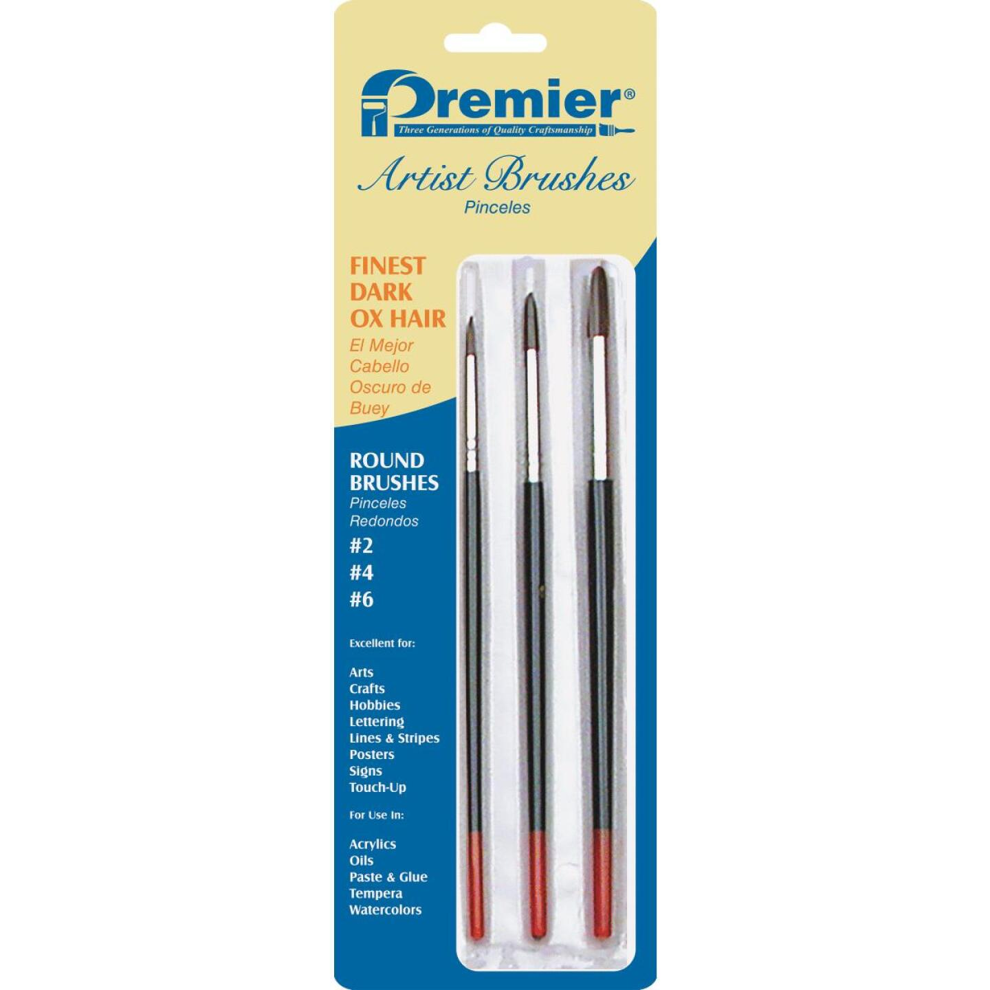 Premier Z-Pro Assorted Dark Ox Hair Round Artist Brushes (3 Pieces) Image 1